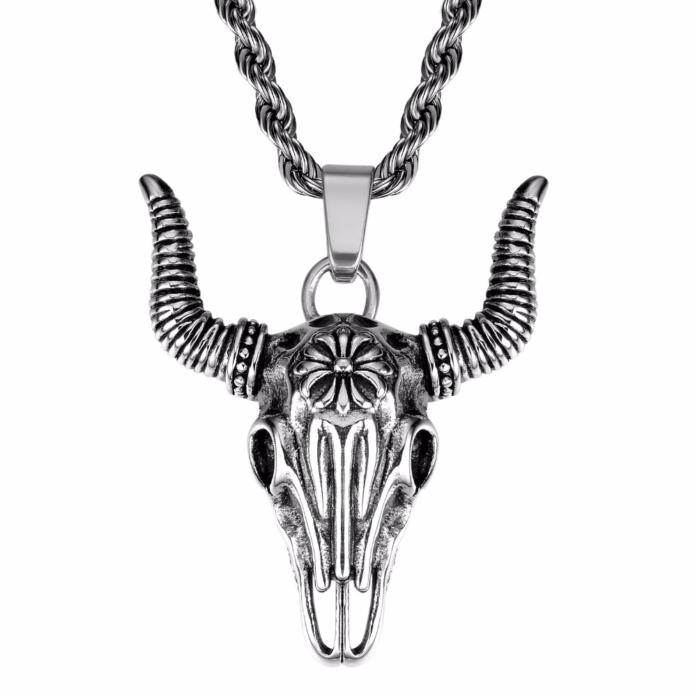 Gothic Mens Stainless Steel Skull Head Bull Pendant Necklace African Tribe Style Man Boy Cow Jewellery