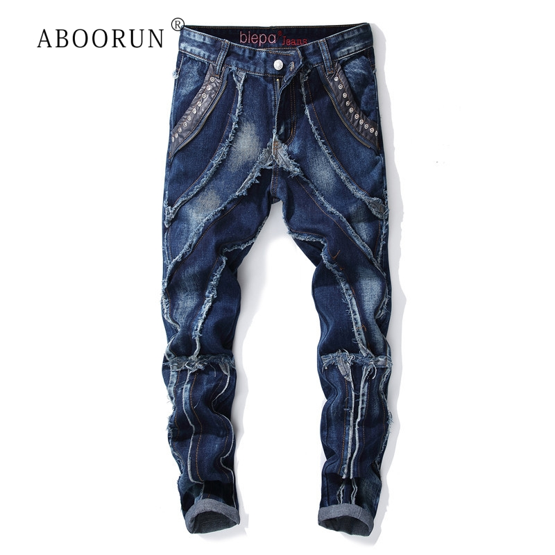 ABOORUN Men's Fashion Motor Jeans Distressed Tassels Patchwork Jeans Punk Brand Pencil Jeans For Male R1061