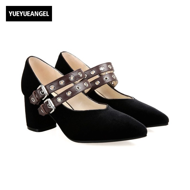 British Retro Elegant Ladies Shoes Buckle Pointed Toe Genuine Leather Zapatos Mujer Block High Heel Pumps Casual Shoes Loafers ladies flat shoes fashion women flats ankle strap pointed toe flat shoes casual ladies loafers black shoes zapatos de mujer