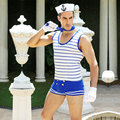 6606 erwachsene Männer Sexy Cosplay Kostüme Navy Sailor Kostüm Weiß Blau Seemann Uniform Supper Attraktives Polizei Kostüm Outfits-in Sexy Kostüme aus Neuheiten und Spezialanwendung bei