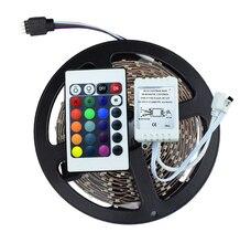 Высокое качество Нет-Водонепроницаемый 3528 SMD RGB СВЕТОДИОДНЫЕ Ленты Света DC 12 В 5 м 60led/м Гибкие СВЕТОДИОДНЫЕ Полосы Света с дистанционным контроллер