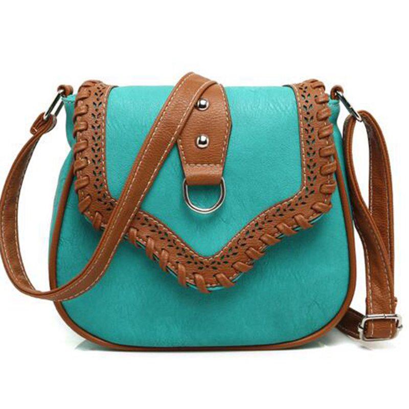 2017 Women Messenger Bag Hollow Out bolsa feminina bolso mujer Leather Shoulder Bag Saddle Crossbody Bags for Women S-132