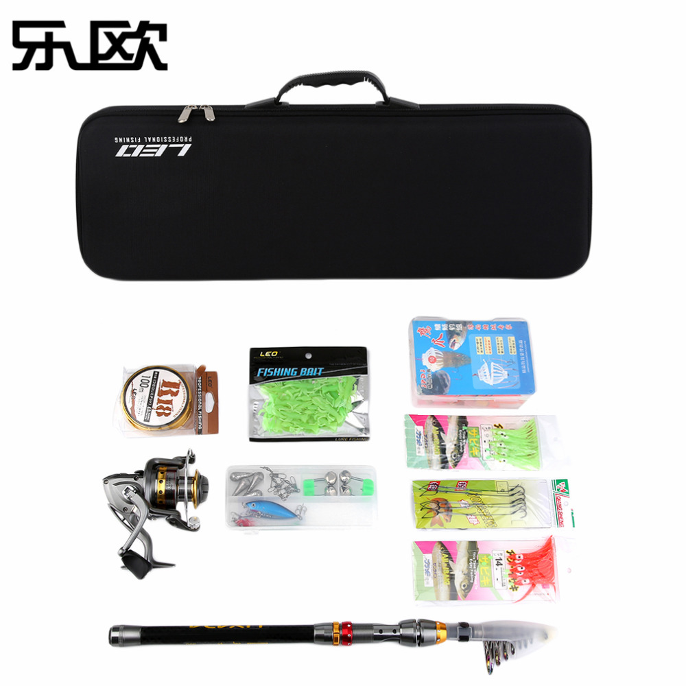 LEO Telescopic Fishing Rod Reel Combo Full Kit Spinning Fishing Reel Pole Set With Fishing Line Lures Hooks Carrier Bag купить