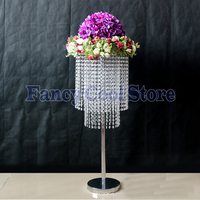 80cm Tall by 30cm Diameter Wedding Crystal Table centerpiece flower stand table chandelier Wedding Props 10pcs/lot
