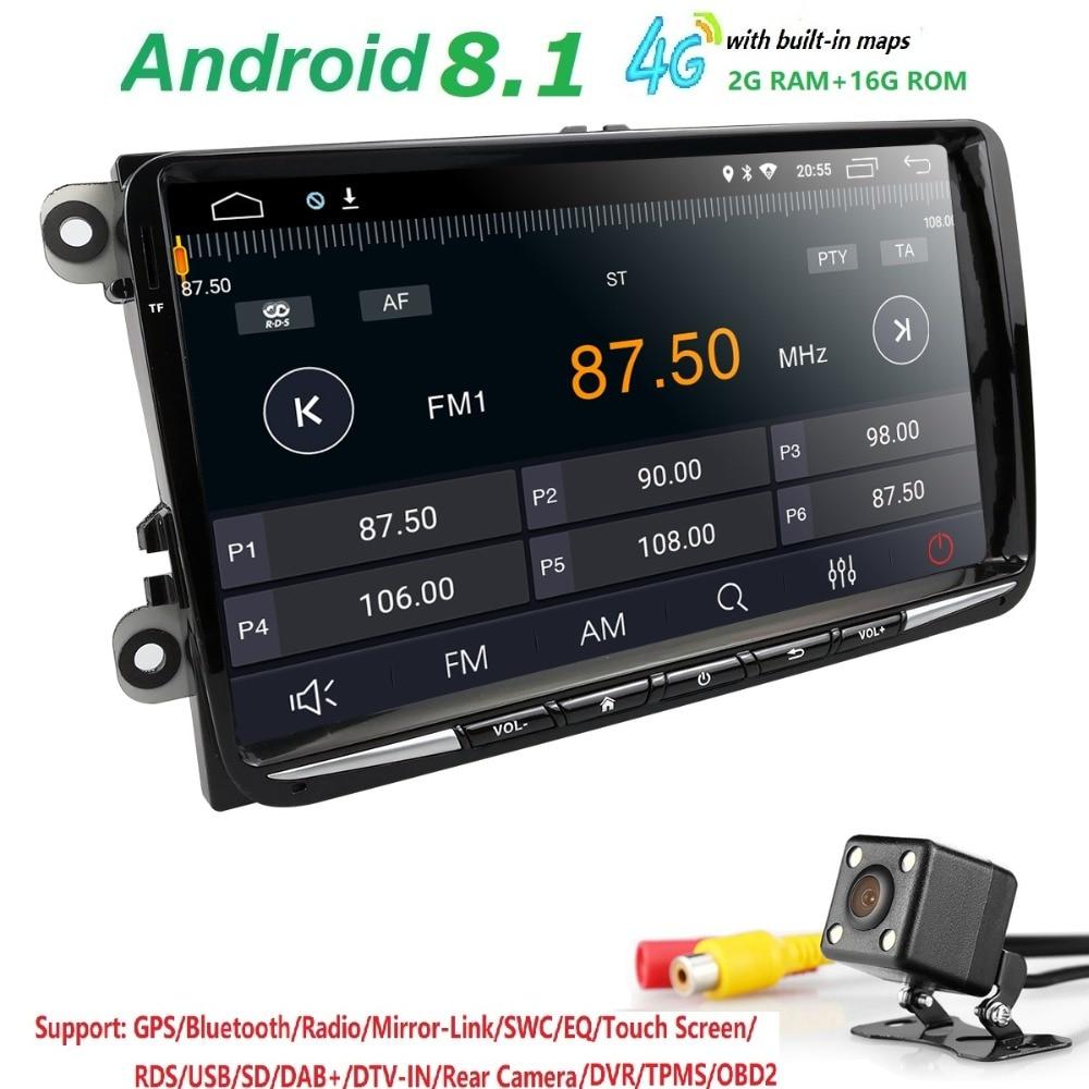 9 pouce Android 8.1 Voiture GPS Pour Passat B6 B7 Radio Pour Volkswagen Golf5 mk6 Navi V W Polo Touran J etta mk5 mk6-67 s Inverse Cam