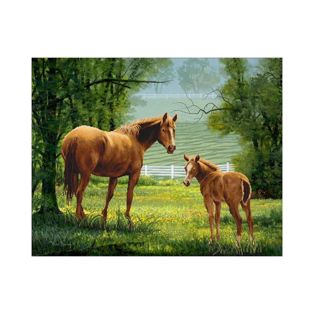 Needle Arts & Crafts Energetic Wild And Wild Wolf Show Robust Horse Wildlife Diamond Painting Natural Wild Style Diamond Painting Cross Stitch