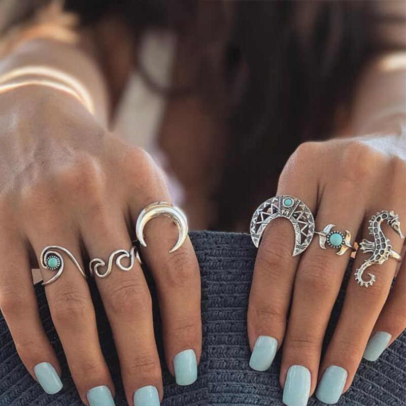 6 pcs/set Knuckle Ring Set For Women Waves Seahorse Moon Hollow Flower Crescent Mid Finger Rings Ancient Silver Color Jewelry