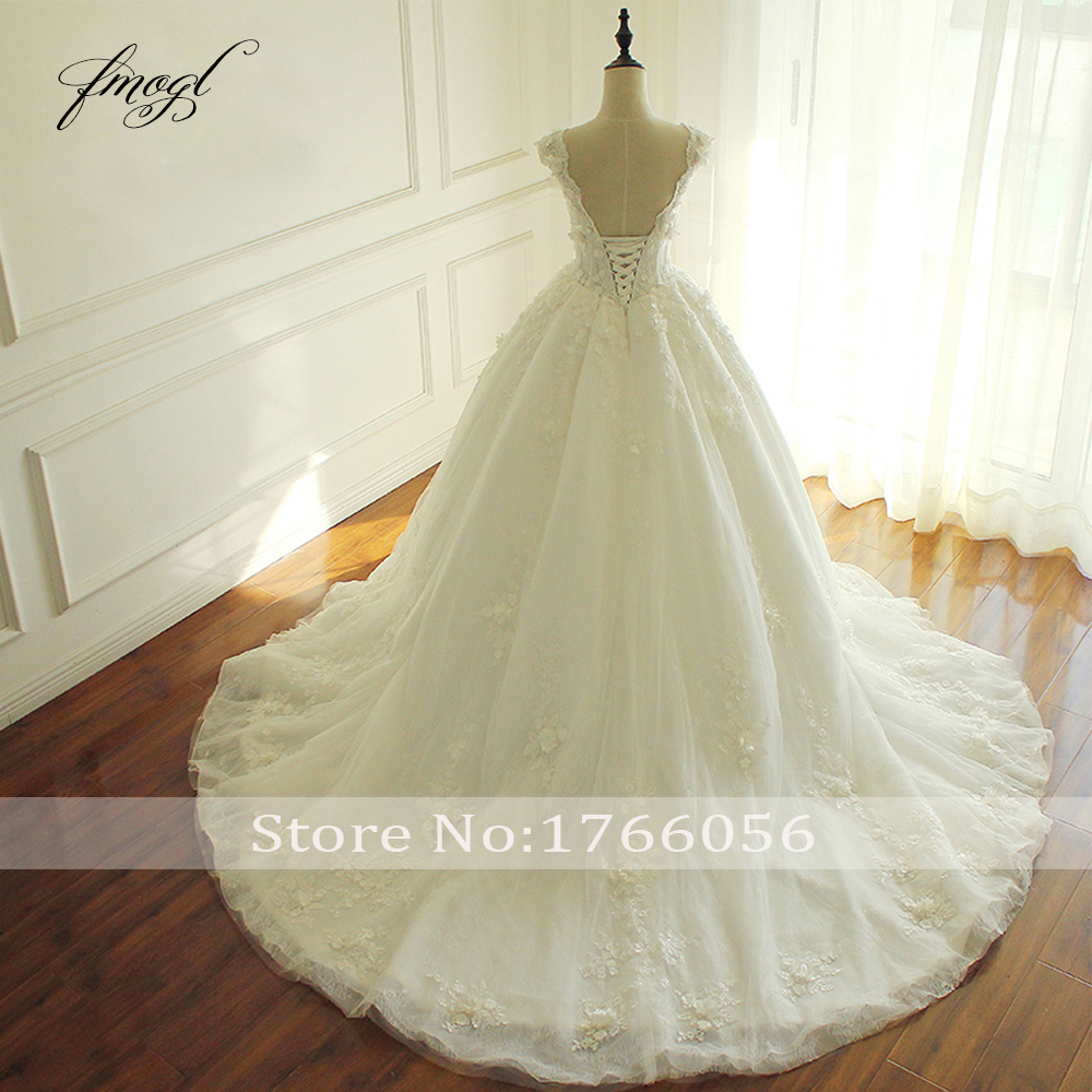 Fmogl Elegant Flowers Lace Princess Wedding Dress 2019 Beading Appliques Vintage Bride dresses Robe De Mariage Plus Size-in Wedding Dresses from Weddings & Events    2
