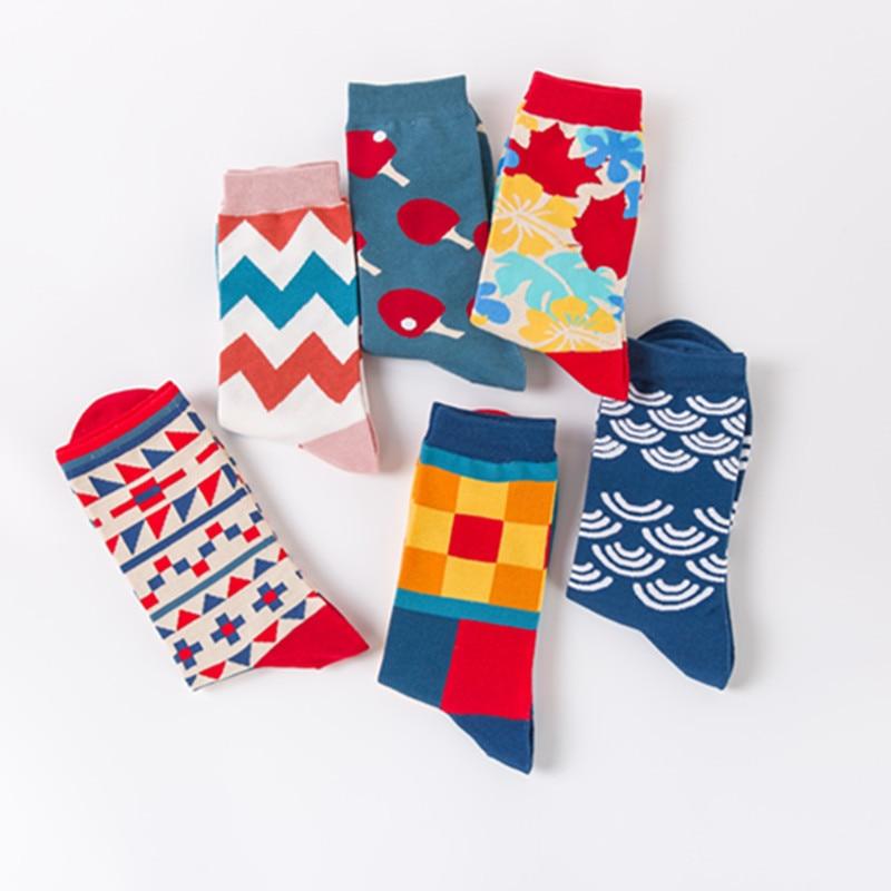 Colored cotton happy socks men and women british style casual harajuku designer brand fashion novelty art couple funny Skarpetki