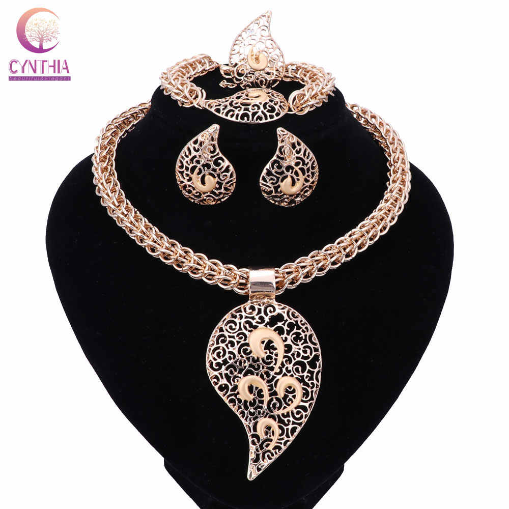 Bridal Gift Nigerian Wedding African Beads Jewelry Set Fashion Dubai Gold  Crystal Jewelry Set Costume Design