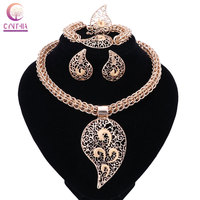 Bridal Gift Nigerian Wedding African Beads Jewelry Set Fashion Dubai Gold Plated Crystal Jewelry Set Costume
