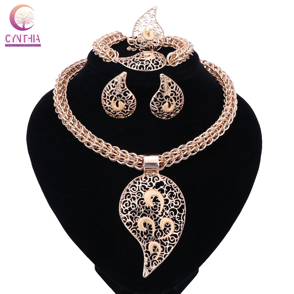 Svatební dárek nigerijské svatební africké korálky šperky sada módní Dubaj zlaté křišťálové šperky sada kostým design