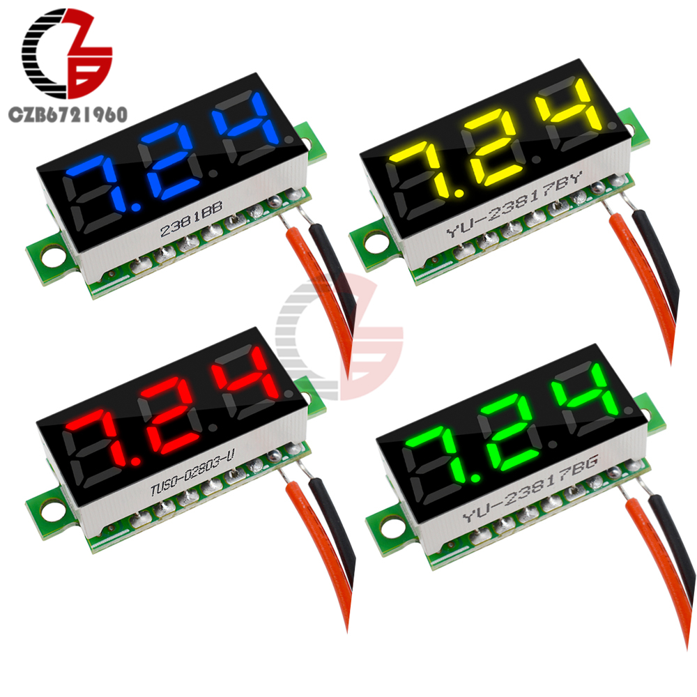 0.28 Inch DC 12V Mini LCD Digital Voltmeter Voltage Meter Panel Volt Tester Detector Monitor 2 Wire Red Green Blue Yellow LED