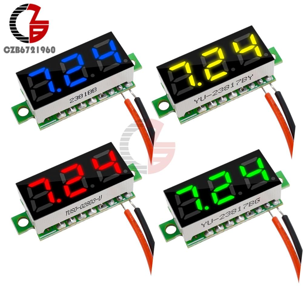 0,28 дюймов DC 12 В Мини ЖК-цифровой вольтметр измеритель напряжения Панель Вольт тестер детектор монитор 2 провода красный зеленый синий желты...