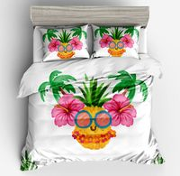 3d unique Bohemia style printing tropic Fruits pineapple fiower Botany Pink green white duver cover pillow case bedding sets