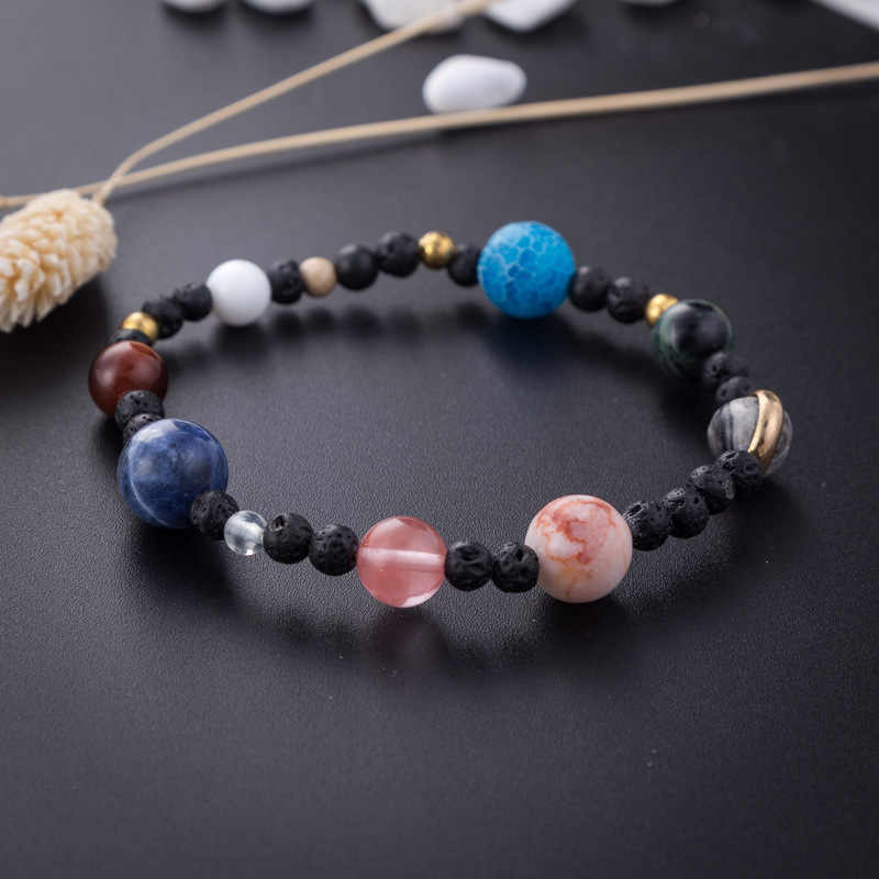 BOEYCJR Universe 9 Planets Stone Beads Bangles & Bracelets Fashion Jewelry Solar System Energy Bracelet For Women or Men 2019