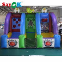 SayOK Inflatable Shooting Basketball Hoop and Football Gate for Shooting Soccer and Playing Football Game with Air Blower