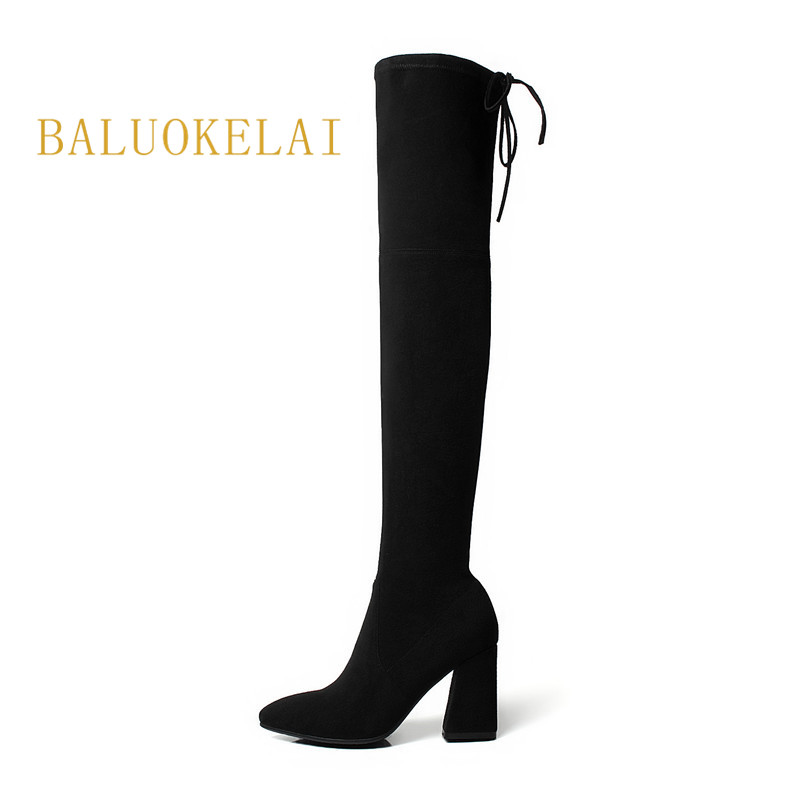 New Autumn Winter Women Boots Lace Up Square Heel Black Flock Thigh High Boots High Heels Over The Knee Boots Size 35-40,K-110