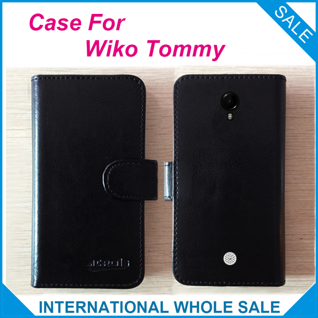 Hot! 2016 Wiko Tommy Case,6 Colors High Quality Leather Exclusive Case For Wiko Tommy Cover Phone Tracking