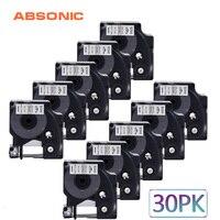 Absonic 30PCS 19mm IND Vinyl DYMO Rhino 18445 Black on White Labeling Tape Industrial Cartridge For Rhino 4200 5200 6000 Printer