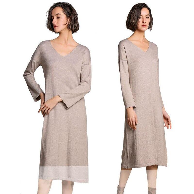 Kadın Giyim'ten Elbiseler'de Örme Kış Ilkbahar Uzun Kazak Elbise Kadınlar Siyah Sarı Kazak Düz Kaşmir Elbiseler Katı Gevşek Uzun Kazak Elbise'da  Grup 1