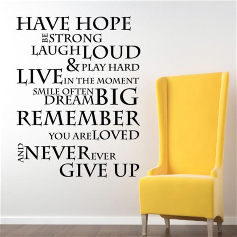 Have Hope Inspirational office wall Quotes art Graphics letters Wall Sticker