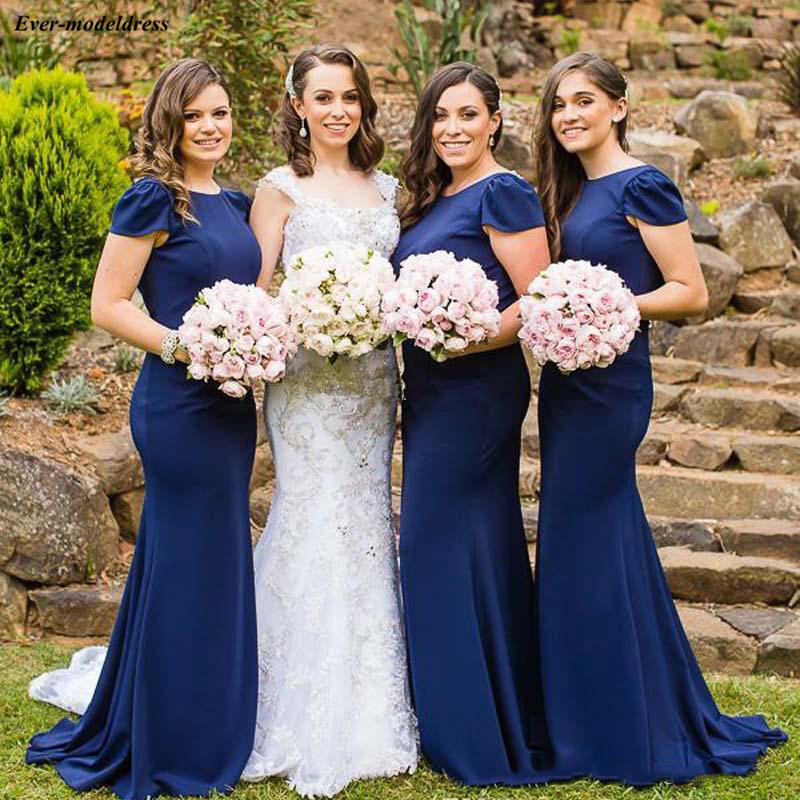 Beautiful Royal Blue Mermaid Chiffon   Bridesmaid     Dresses   Scoop Cap Sleeves Backless Beaded Boho Beach Wedding Guest   Dresses   2019