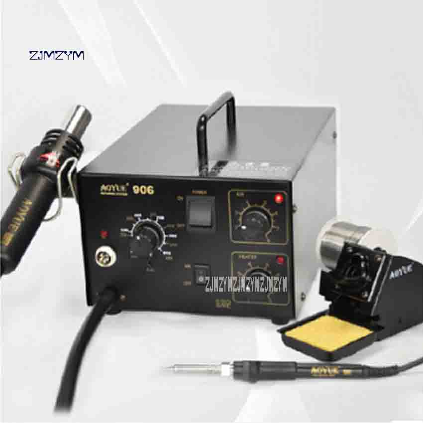 220V/110V 906 Desoldering Station Hot air Soldering Station 2 in 1 Soldering Station Air Gun Combination of Iron Repair Tools 650w 110v or 220v yihua 858d hot air desoldering station with 45w soldering iron air gun soldering station