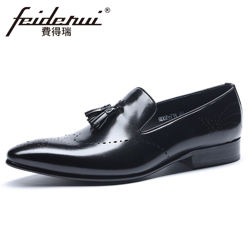 Summer Designer Genuine Leather Mens Breathable Loafers Formal Dress Italian Pointed Toe Slip on Tassel Man Brogue Shoes HMS108Summer Designer Genuine Leather Mens Breathable Loafers Formal Dress Italian Pointed Toe Slip on Tassel Man Brogue Shoes HMS108