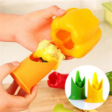 2in1 Pepper Chili Bell Jalapeno Corer Seed Remover Green Pepper Chilli Cutter Corer Slicer Fruit Peeler Kitchen Utensil 301-0446(China)