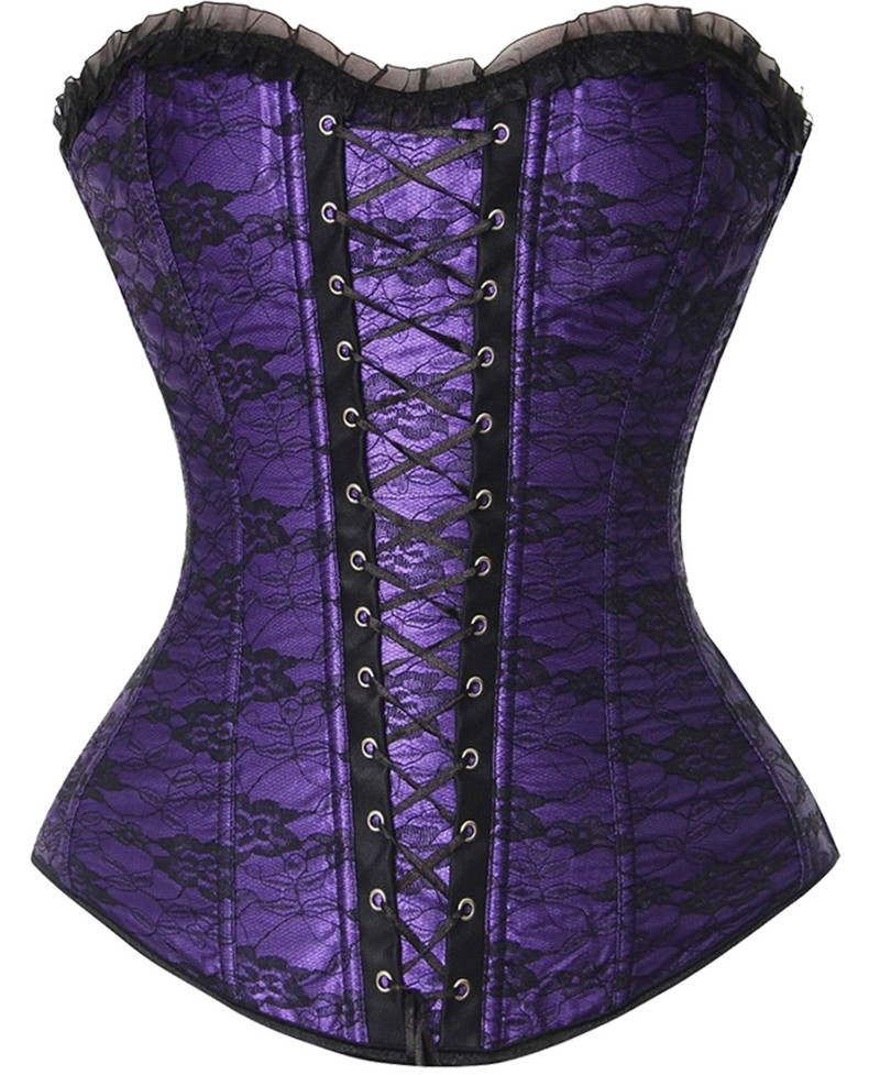 Sexy Boned Woman's   Corsets     Bustiers   Lingerie Overbust Lace Up   Corsets   Halloween Christmas Paty Dress Cincher S-2XL