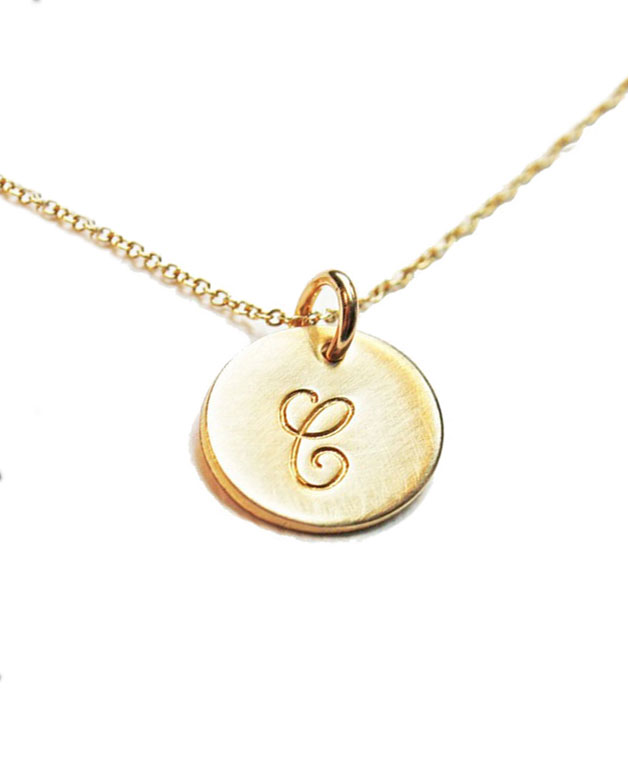 16mm Engraved Letter Round Disc Initial Necklace for Women Gold Silver Color Collier Femme Jewelry Necklace Girl Gifts NL-2459-2