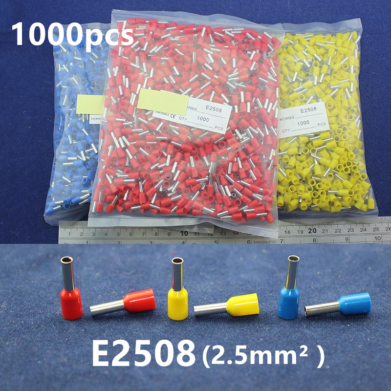 1000Pcs Cord End Copper Tube Connectors Insulated Cord Pin End Crimp Terminals  E2508 for 16-14awg wire wholesal e1008 insulated cable cord end bootlace ferrule terminals tubular wire connector for 1 0mm2 wire 1000pcs