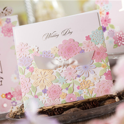 50 pieces lot hot romantic laser cut pink flower wedding invitation card with bowknot wedding.jpg 250x250