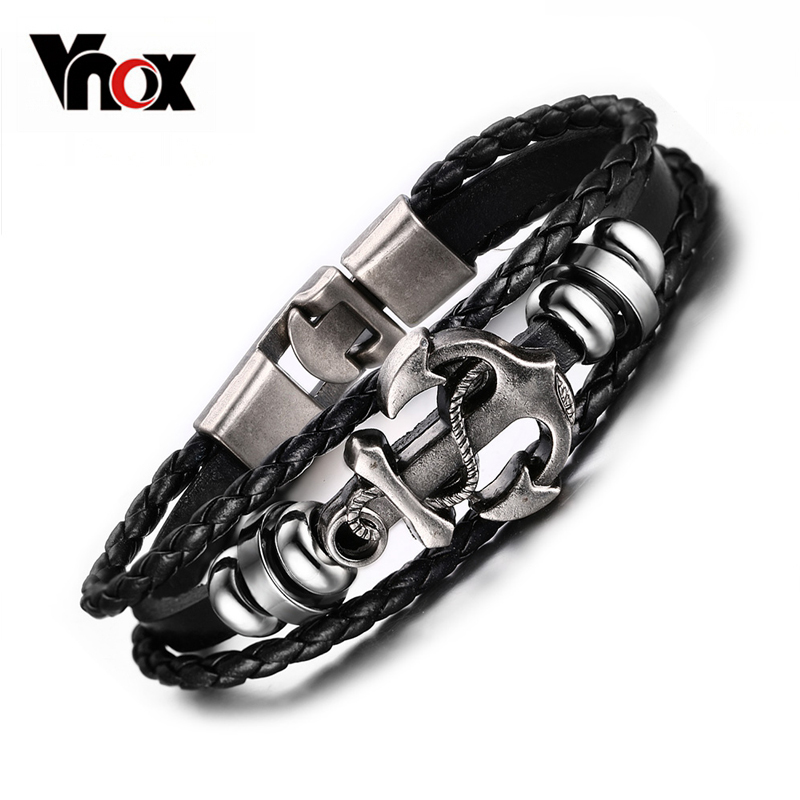 Vnox Black Leather Charm Bracelets Men Jewelry Gift Male
