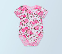 2016 New Rosette Baby Girl Clothes Newborn Cotton Jumper Flower Cute Kids Short Sleeve Rompers Jumpsuit