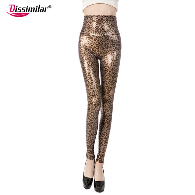 98db013c58 US $9.99 |Free shipping 2017 women Sexy Skinny Faux Leather Snake Leggings  High Waist Leopard Print Legging Long Pants XS/S/M/L/XL 4 color-in Leggings  ...