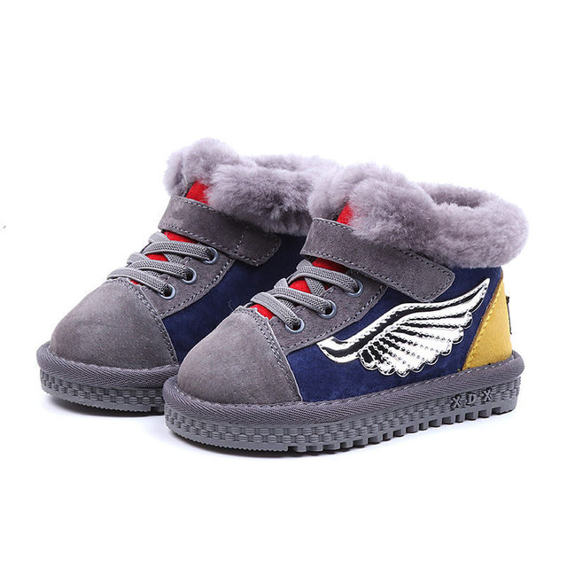 Angel Wing Kids Boots 2018 New Sport Winter Shoes for Girls and Boys Patchwork Ankle Children's Rubber Boot 1 4 6  years
