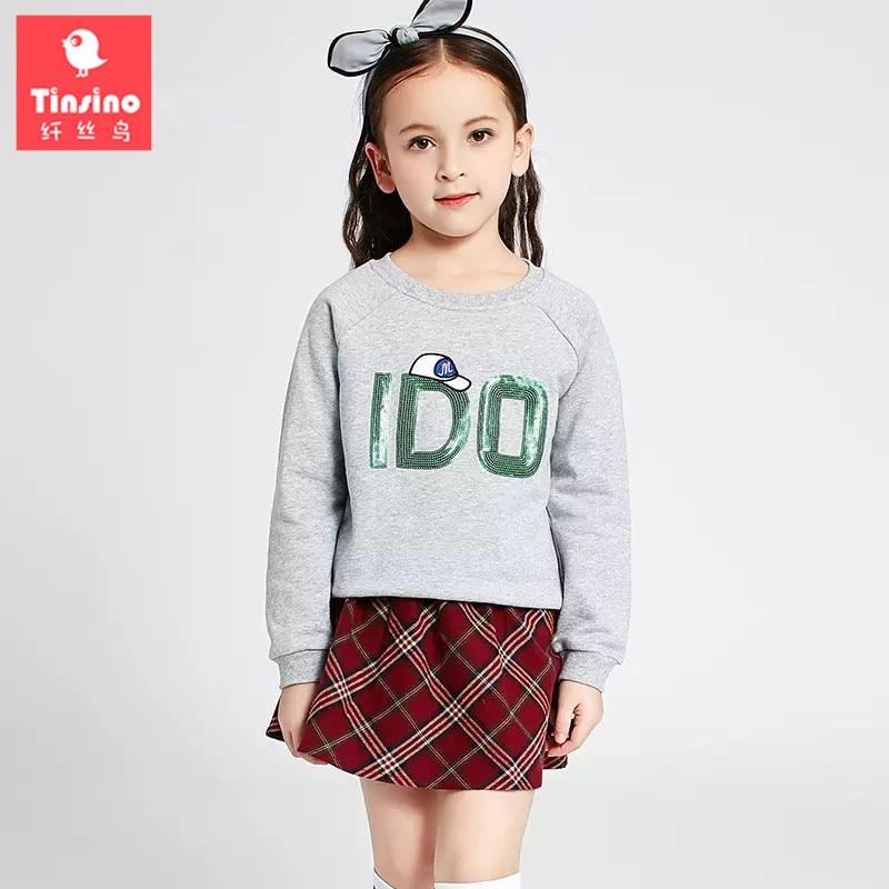 Tinsino 2017 Girls Autumn Clothing Sets Casual Long Sleeve Sweatshirts + Plaid Skirts Children Spring Clothes Set Kids Suits