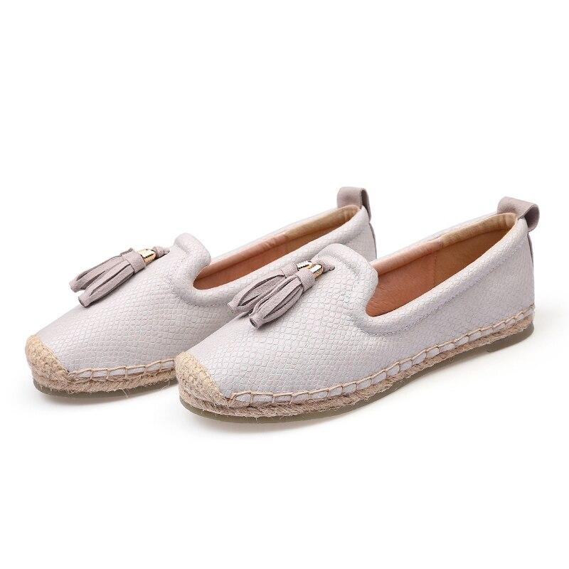 Merek Wanita Loafers Slip Pada Rumbai Sepatu Wanita Kasual Datar - Sepatu Wanita - Foto 3