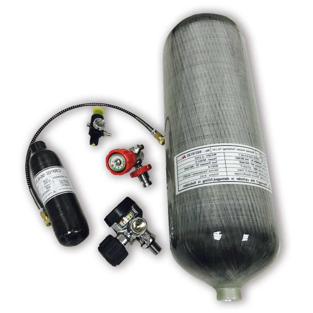 AC1682016 9L 4500PSI High Pressure Carbon Fiber Cylinder & 0.35L Paintball Tank & Valve & Fill Station & Regulator Drop Shipping