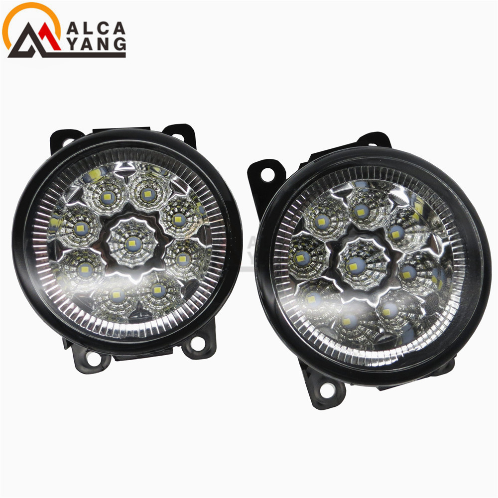 Malcayang Angel Eyes For Suzuki GRAND VITARA 2 2005-2015 Front Fog Lights Fog Lamps Car Styling led front fog lights for suzuki grand vitara 2 jt 2005 15 car styling round bumper drl daytime running driving fog lamps