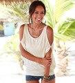 Лето Сексуальная Свободные С Плеча Футболка Топы Вернуться Выдалбливают женская футболка 2016 Новый