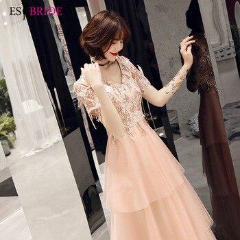 Pink Casual Vestidos De Fiesta De Noche Office Evening Dresses Long Cake Sexy V-neck Evening Dress Robe De Soiree ES2481