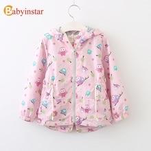 Babyinstar Cute Owl Pattern Girls Trench Outwear 2017 New Autumn Long Sleeve Hooded Jacket Kids Casual Coat