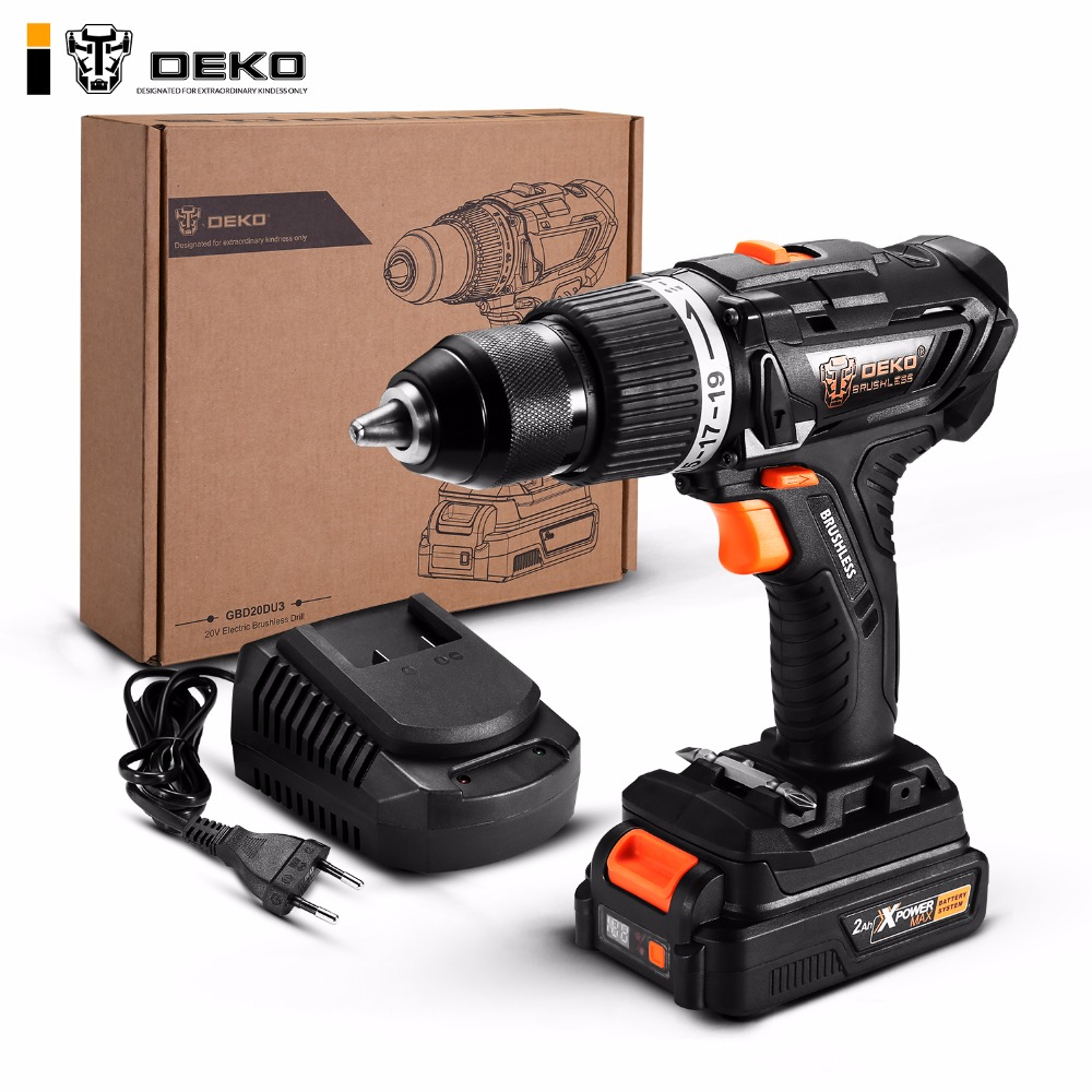 DEKO GBD20DU3 20-Volt Max Brushless Electric Impact Drill Cordless Screwdriver 2 Ah Lithium-Ion Battery 13mm 2-Speed 58Nm Torque