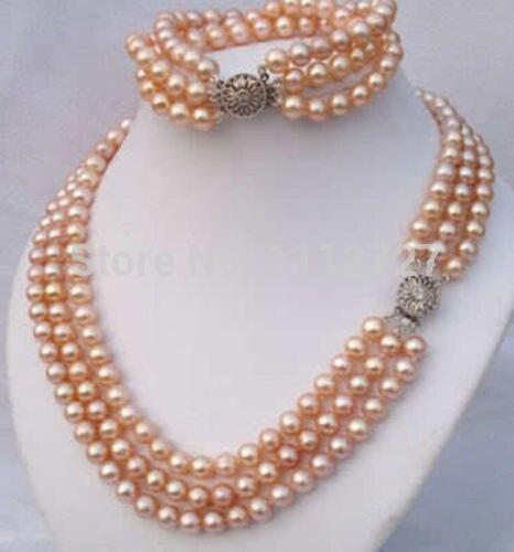 Femmes cadeau mot amour femmes mode bijoux ensemble 3 rangées 7-8mm 2014 charmant rose Akoya coquille collier de perles Bracelet perles