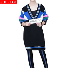 HOT Free shipping 2016 new autumn fashion women high quality tide models rainbow stripes hit color V-neck jersey dress rabbit