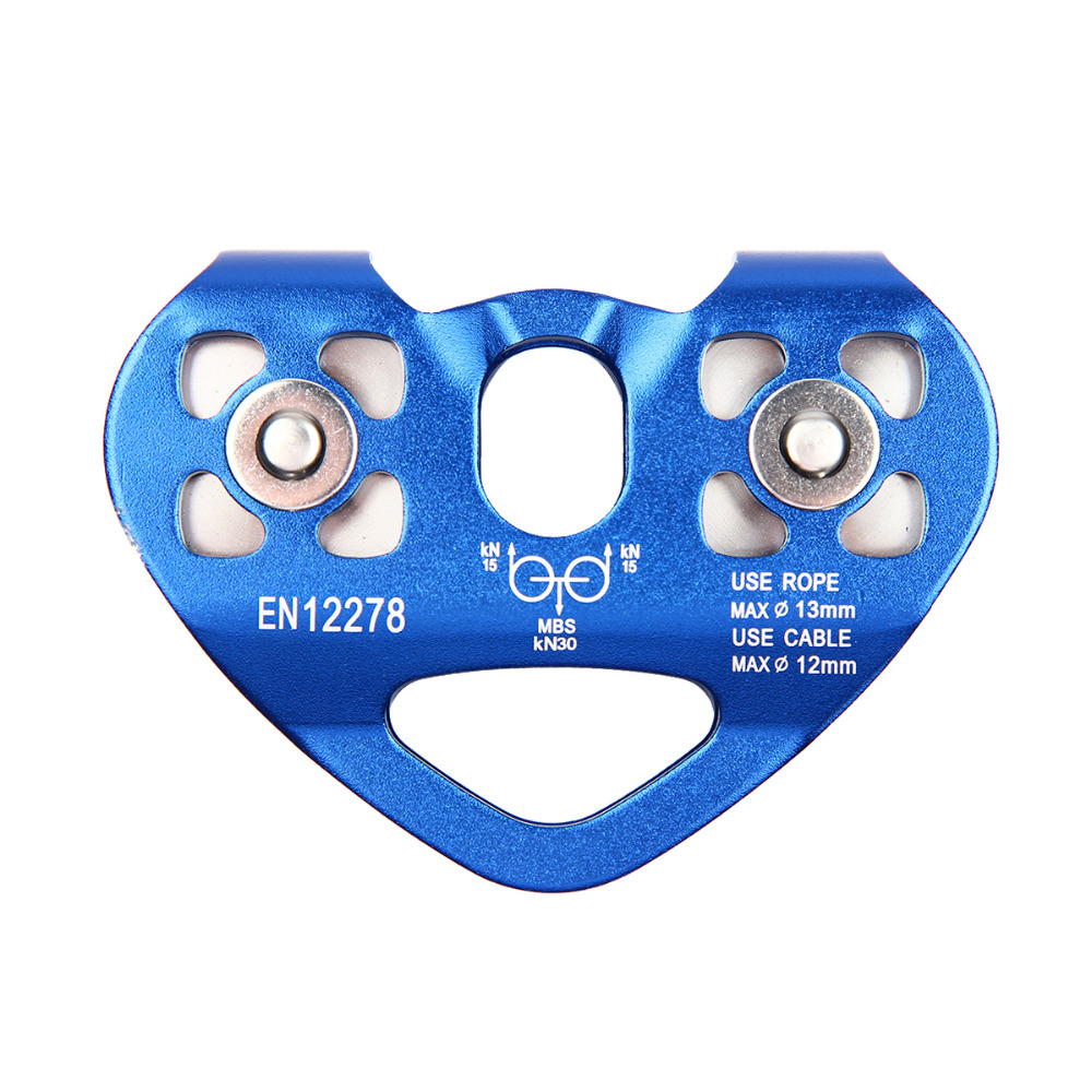 Outdoor Sport Pulley High Quality Biaxial Double Pulley Ice Climbing Mountaineering Secure Dual Pulley Block