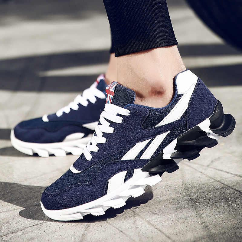 6d9ee7961fc ... Plus Size 49 Adult Mix Color Men Breathable Casual Shoes Wave Blade  Bottom Sneakers Massage Sole ...
